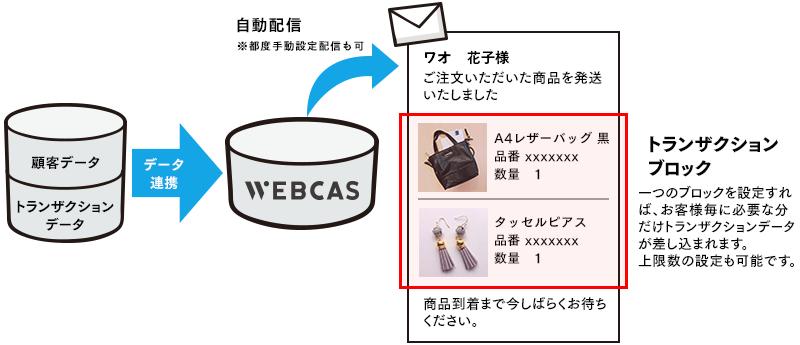 トランザクションデータ差し込みメールのイメージ