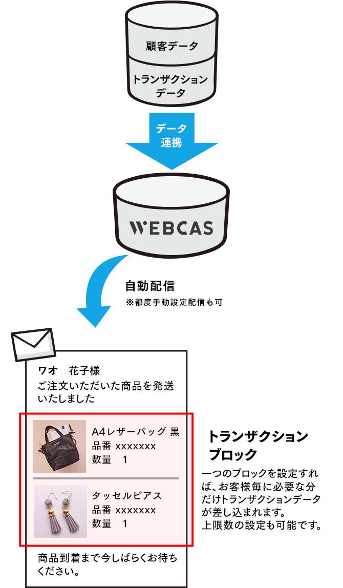 トランザクションデータ差し込みメール配信