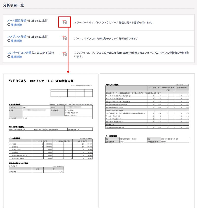 メール配信の結果レポートはPDFでダウンロード可能