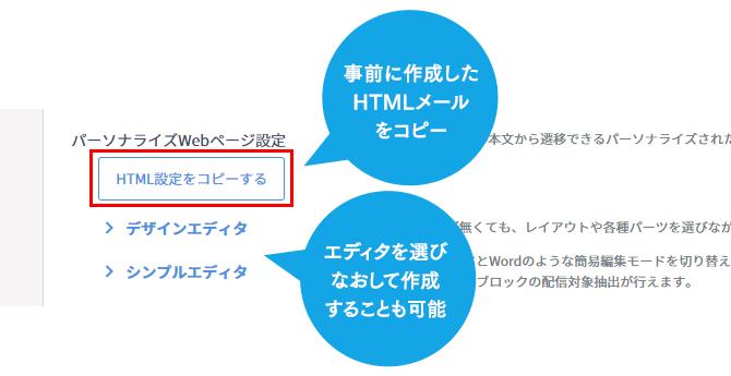 2.事前に作成したHTMLメールをパーソナライズWebページ用にコピー&登録(編集も可能)