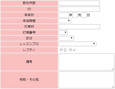 WEBCASで作成した来店履歴および売上情報の登録フォーム(一部)。