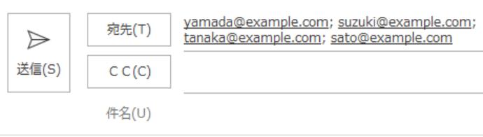 メールソフト(OutlookやGmail等)の宛先部分に貼り付け