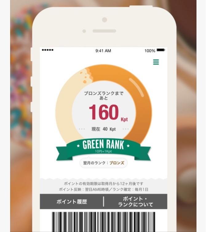 同社の公式アプリ。購入で貯まるポイント数に応じて毎月ランクが確定する。