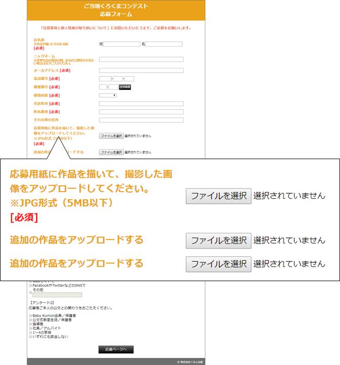 WEBCASで作成した応募フォーム