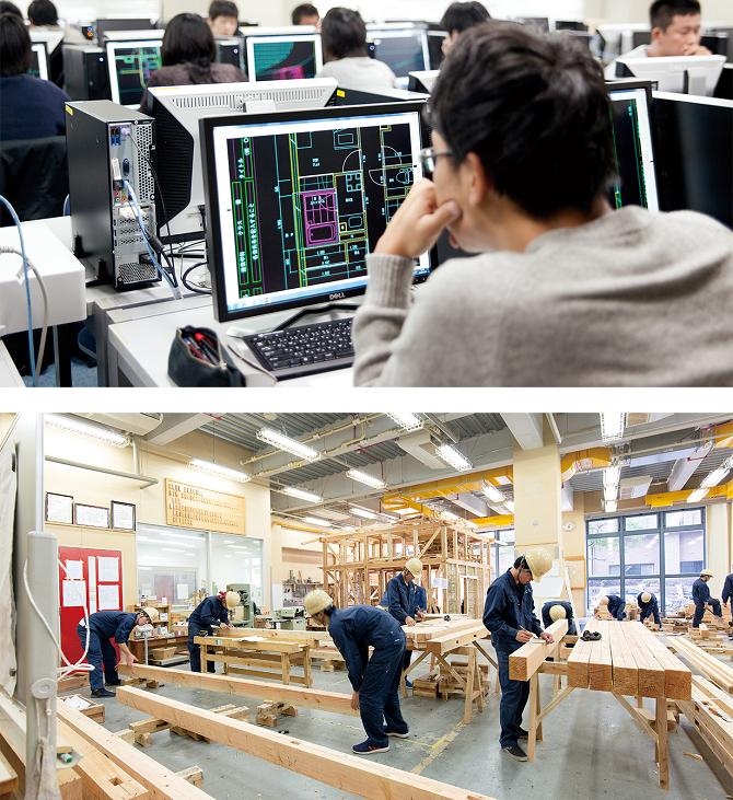 実践的な専門教育に特化しているため、2年という限られた期間で、建築や機械関連業界が求める実務能力を効率的に身に付けることができる。