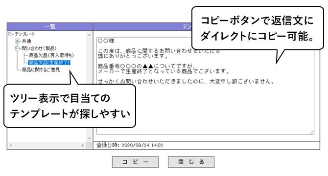 ツリー表示で目当てのテンプレートが探しやすい/コピーボタンで返信文に ダイレクトにコピー可能。