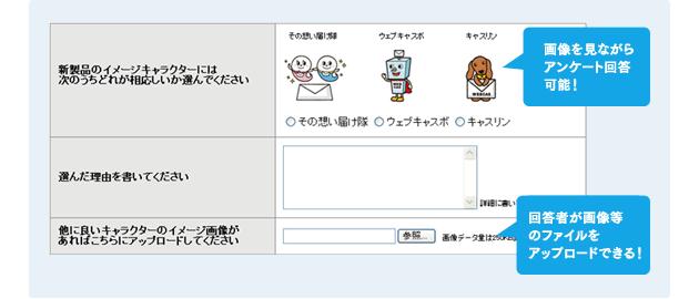 画像を見ながらアンケート回答可能! 回答者が画像等のファイルをアップロードできる!
